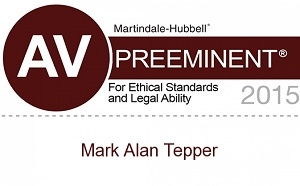 Martindale-Hubbell AV Preeminent awarded to Mark A Tepper 1sm